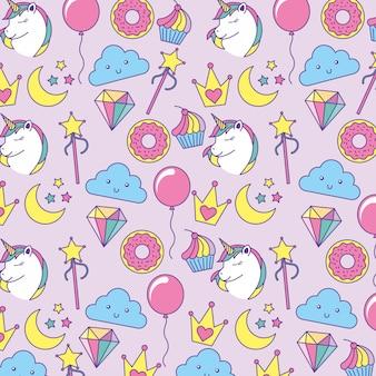 Patrón de fantasía lindo con unicornio