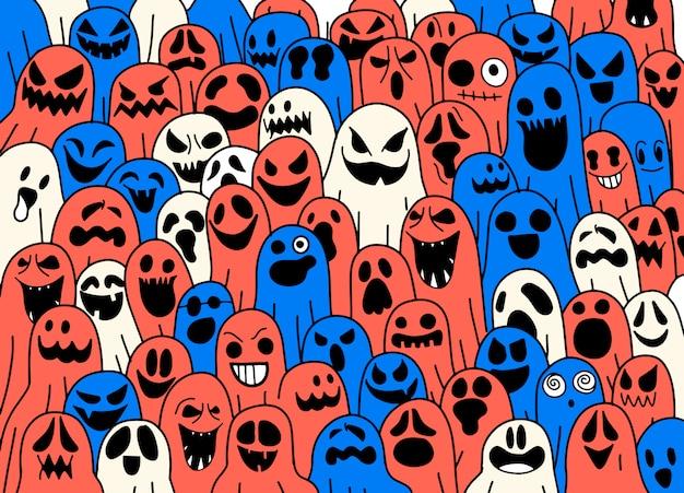 Patrón de fantasma bufanda espeluznante de halloween papel tapiz repetido aislado, fondo de mosaico diablo malvado ilustración de dibujos animados