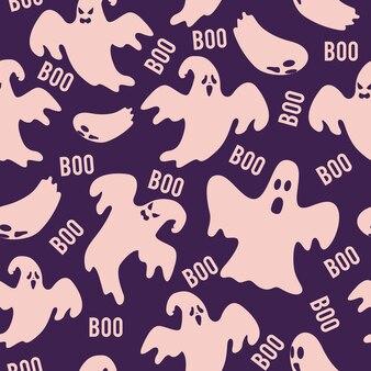 Patrón de fantasma sin costura con boo halloween texto