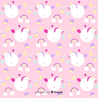Patrón fantástico dibujado de unicornios