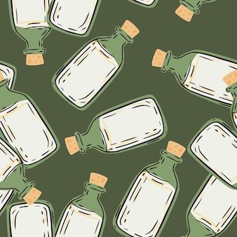 Patrón de farmacia transparente aleatorio con botellas médicas de color blanco y verde