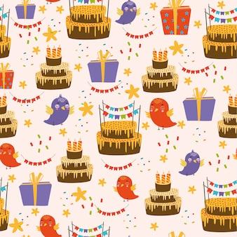 Patrón de feliz cumpleaños con pájaros y pastel