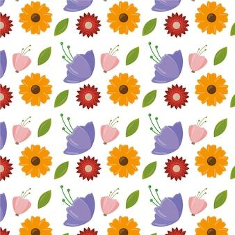 Patrón de feliz día de la mujer con hojas y flores.