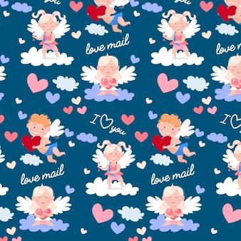 Patrón de feliz día de san valentín. ángeles encantadores, correo de amor, paloma y corazones.