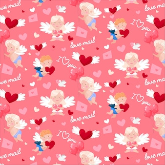 Patrón de feliz día de san valentín. cupidos y ángeles encantadores, correo de amor, paloma y corazones.