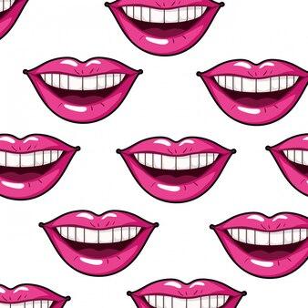 Patrón femenino boca estilo pop art