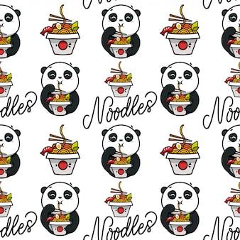 Patrón de fideos, adornos. comida asiática, lindo panda