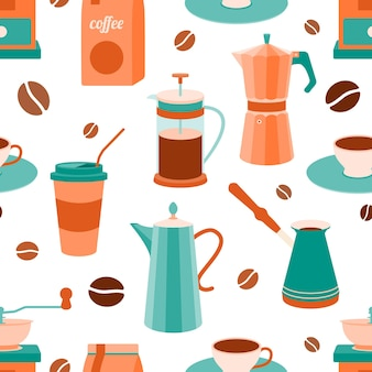 Patrón sin fisuras de accesorios de cocina para hacer café