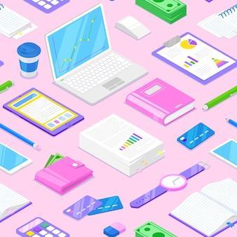 Patrón sin fisuras con accesorios de empresaria y estacionario sobre fondo rosa