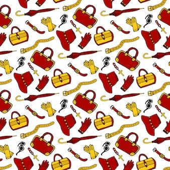 Patrón sin fisuras con accesorios de mujer de moda. bolsas, zapatos, paraguas, reloj, correa, guantes. vector de patrón dibujado a mano de fondo