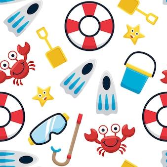 Patrón sin fisuras de accesorios de vacaciones de verano. juguetes de actividades de playa con graciosos cangrejos y estrellas de mar.