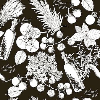 Patrón sin fisuras de aceite de oliva y tomates estilo de dibujo a mano