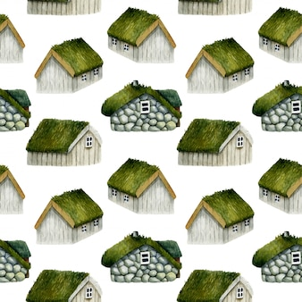 Patrón sin fisuras de acuarela casas noruegas con techo de hierba