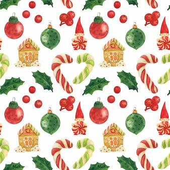Patrón sin fisuras de acuarela de elfos de navidad con bastones de caramelo, acebo y adornos