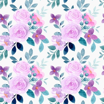 Patrón sin fisuras de acuarela flor morada