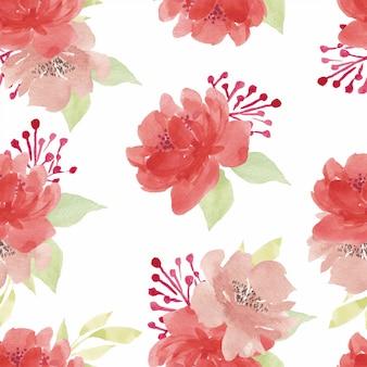 Patrón sin fisuras de acuarela flor peonía roja