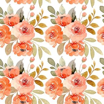 Patrón sin fisuras de acuarela de flor rosa naranja