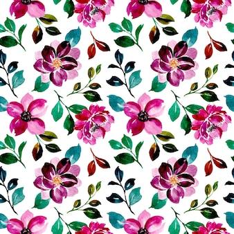 Patrón sin fisuras de acuarela floral púrpura
