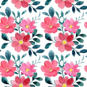 Patrón sin fisuras de acuarela floral roja