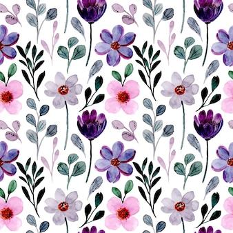 Patrón sin fisuras con acuarela floral rosa púrpura