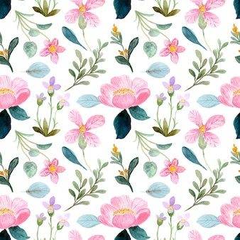 Patrón sin fisuras de acuarela floral rosa