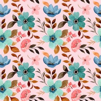 Patrón sin fisuras de acuarela floral suelta