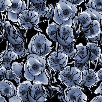 Patrón sin fisuras de acuarela flores azules botánico delicado y elegante