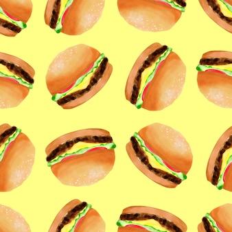Patrón sin fisuras de acuarela hamburguesa lindo postre