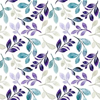 Patrón sin fisuras con acuarela de hojas verde púrpura