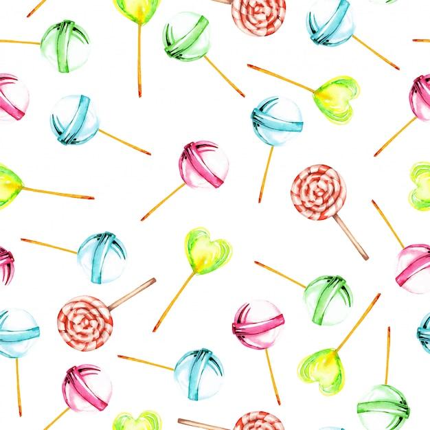 Patrón sin fisuras con acuarela lollipop