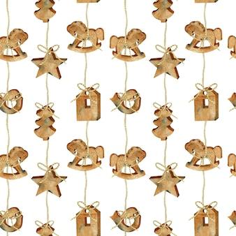Patrón sin fisuras de acuarela navidad guirnalda de juguetes de madera