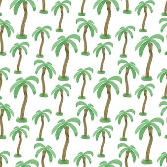 Patrón sin fisuras con acuarela palmeras. textura de vector de impresión sin fin. viajes de fondo tropical.