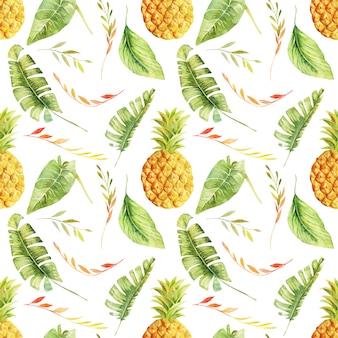 Patrón sin fisuras de acuarela piña y hojas tropicales, ilustración aislada pintada a mano