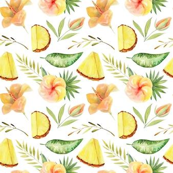Patrón sin fisuras de acuarela en rodajas de piña y plantas y hojas verdes tropicales, ilustración aislada pintada a mano