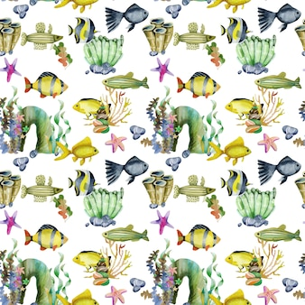 Patrón sin fisuras con acuarelas peces de colores y otros peces