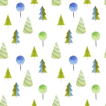 Patrón sin fisuras de acuarelas simples árboles y abetos, dibujados a mano