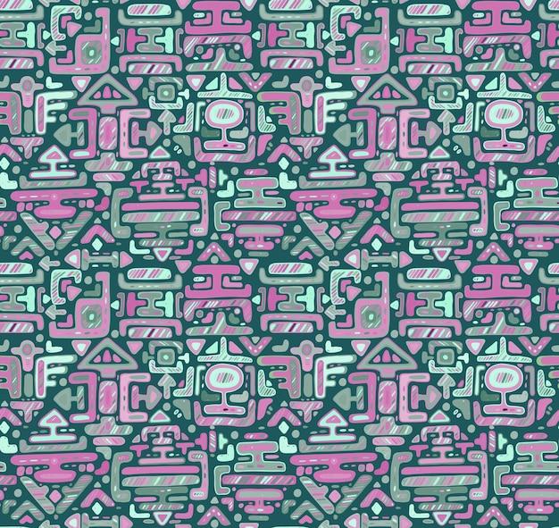 Patrón sin fisuras con adornos de color dibujados a mano maya sobre fondo negro. impresión textil.