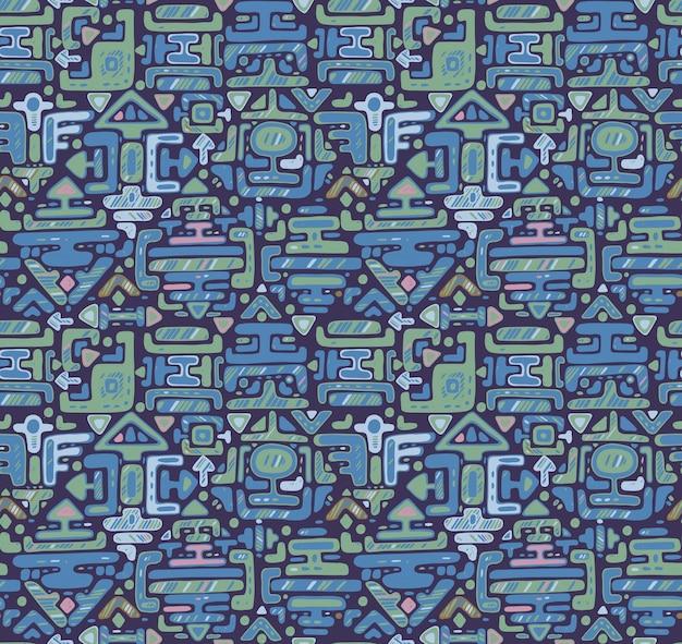 Patrón sin fisuras con adornos de color dibujados a mano maya sobre fondo negro. telón de fondo azul sin fin.