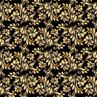 Patrón sin fisuras con adornos de damasco de lujo en el fondo negro.