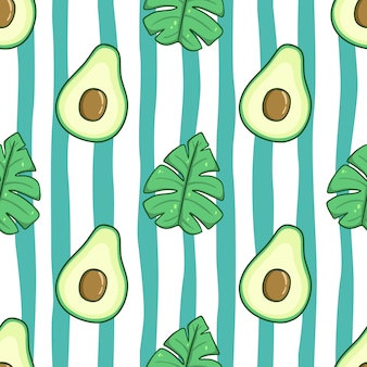 Patrón sin fisuras de aguacate y hojas de verano con estilo doodle color