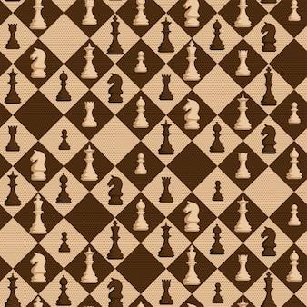 Patrón sin fisuras de ajedrez con figuras sobre fondo de rombo