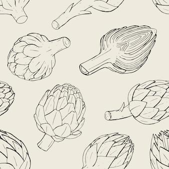 Patrón sin fisuras de alcachofa con planta de corte dibujado a mano. ilustración de contorno