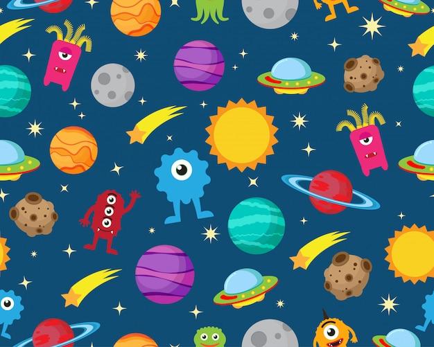 Patrón sin fisuras de alien con ufo y planeta en el espacio