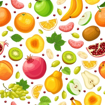 Patrón sin fisuras de alimentos naturales frescos