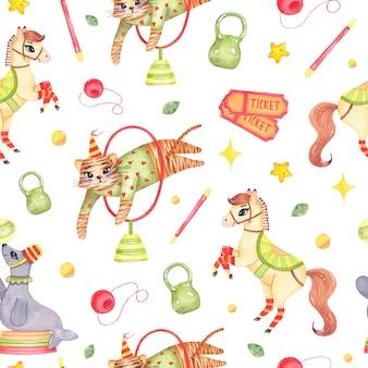 Patrón sin fisuras animal acuarela circo con tigre caballo saltando a través del círculo