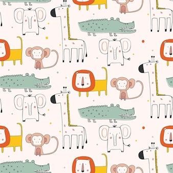 Patrón sin fisuras con animales africanos en estilo escandinavo dibujado a mano ilustración vectorial jirafa