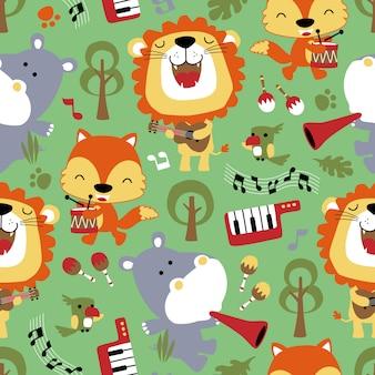 Patrón sin fisuras de animales catoon tocando música