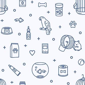 Patrón sin fisuras con animales domésticos y productos de la tienda de mascotas para el cuidado, la nutrición y el tratamiento.