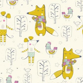 Patrón sin fisuras con animales lindos foxhenmouse ilustración de vector dibujado a mano