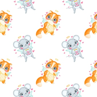 Patrón sin fisuras de animales de san valentín. patrón sin fisuras de cupidos de dibujos animados lindo gato y ratón.